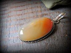 画像6: 1点もの*夕焼け色オレンジアゲート天然石ペンダント*魔よけパワーストーン瑪瑙メノウ (6)