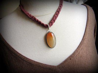 画像1: 1点もの*夕焼け色オレンジアゲート天然石ペンダント*魔よけパワーストーン瑪瑙メノウ