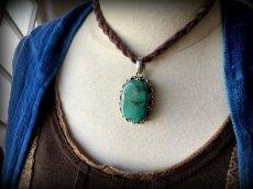 画像8: 旅のお守り*大きな天然ターコイズ(トルコ石) シルバーペンダントトップ*天然石パワーストーン*首飾りネックレス (8)