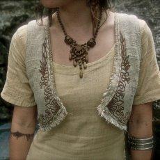 画像2: マヤ紋様手刺繍が個性的!!地球に優しい手織りリネン素材ベスト*トライバル*エスニック*無農薬オーガニック (2)