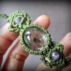 画像2: 1点物*上質ガーデンクォーツ&アメジストマクラメ編みブレスレット*庭園水晶*クローライト入り水晶 (2)