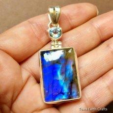 画像10: 高品質ディープブルー ラブラドライト 1点ものペンダントwith 宝石質ブルートパーズ スターリングシルバー (10)