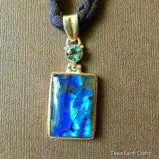 画像14: 高品質ディープブルー ラブラドライト 1点ものペンダントwith 宝石質ブルートパーズ スターリングシルバー (14)