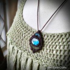画像14: 【夢の実現をサポート】1点物 神秘的青い閃光の高品質ラブラドライト ネックレス/ペンダント*マクラメ編み*天然石パワーストーン (14)