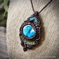 画像8: 【夢の実現をサポート】1点物 神秘的青い閃光の高品質ラブラドライト ネックレス/ペンダント*マクラメ編み*天然石パワーストーン (8)