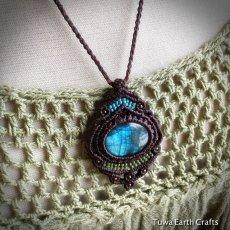 画像15: 【夢の実現をサポート】1点物 神秘的青い閃光の高品質ラブラドライト ネックレス/ペンダント*マクラメ編み*天然石パワーストーン (15)