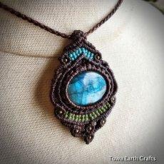 画像12: 【夢の実現をサポート】1点物 神秘的青い閃光の高品質ラブラドライト ネックレス/ペンダント*マクラメ編み*天然石パワーストーン (12)