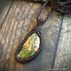 画像3: 1点物 癒しの天然石♪ 半月型ユナカイト ペンダント/ネックレス*シンプル*石留めマクラメ*ヒーリング天然石パワーストーン (3)