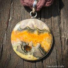 画像2: 皆既日食模様 上質まんまる満月型エクリプスストーン シンプルペンダントトップ★スターリングシルバー (2)