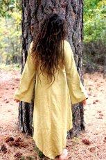画像8: 地球に優しい手紡ぎ手織りローシルク野蚕絹フォレストワンピース*生成りクリーム・ロングスリーブ長袖 ベジタリアンシルク (8)