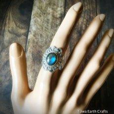 画像10: 1点物 高品質ラブラドライト シルバーリング ブルーシラー指輪14号 エスニックデザイン 天然石パワーストーンアクセサリー (10)