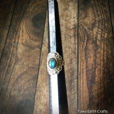 画像11: 1点物 高品質ラブラドライト シルバーリング ブルーシラー指輪14号 エスニックデザイン 天然石パワーストーンアクセサリー (11)