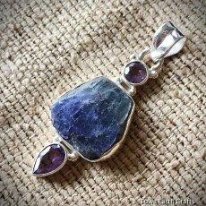 画像3: バイレットブルー♪上質タンザナイト原石&きらきらアメジスト ペンダントトップ 天然石パワーストーンアクセサリー アクセサリー (3)