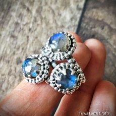 画像11: 1点物 高品質ラブラドライト(カナダ産)3石使いシルバーリング 神秘的ディープブルー指輪14号 天然石パワーストーンアクセサリー (11)