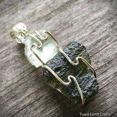 画像14: 宇宙から来たレア希少石 高品質 隕石モルダバイト&アクアマリン原石ペンダントトップ★シルバー925 天然石 パワーストーン ジュエリー 3月誕生石 (14)