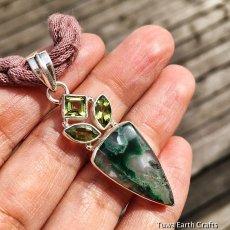 画像3: 1点もの 高品質ムトロライト&宝石質ペリドット ペンダントトップ*スターリングシルバー天然石ジュエリー (3)