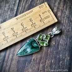 画像5: 1点もの 高品質ムトロライト&宝石質ペリドット ペンダントトップ*スターリングシルバー天然石ジュエリー (5)