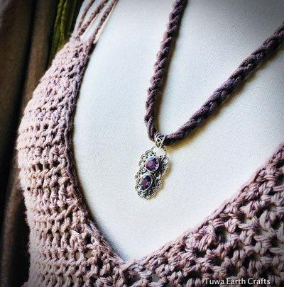 画像1: 1点物 カット入りきらきらアメジスト ペンダントトップ シルバー925 紫水晶 パワーストーン天然石