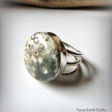 画像4: 【癒しの天然石】1点物 まんまる大ぶりオーシャンジャスパー指輪リング12号 ヒーリングストーンアクセサリー (4)