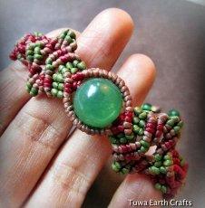 画像4: 癒しの天然石グリーンアベンチュリンのマクラメ編みブレスレット*ハンドメイド (4)