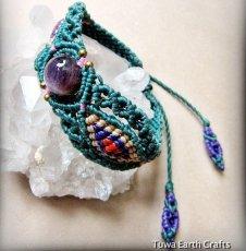 画像1: 1点物 アメジスト ブレスレット/バングル*エスニックデザイン*2月誕生石*紫水晶*天然石パワーストーンアクセサリー (1)