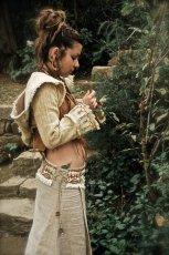 画像6: 手紡ぎ・手織りカディコットン ビッグフードショートジャケット 生成り ハンドメイド (6)