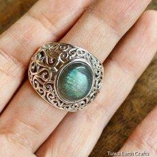 画像6: 1点物 ラブラドライト(カナダ産)シルバーリング 個性的デザイン 指輪 16号 天然石パワーストーンアクセサリー (6)