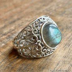 画像4: 1点物 ラブラドライト(カナダ産)シルバーリング 個性的デザイン 指輪 16号 天然石パワーストーンアクセサリー (4)