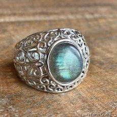 画像3: 1点物 ラブラドライト(カナダ産)シルバーリング 個性的デザイン 指輪 16号 天然石パワーストーンアクセサリー (3)