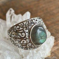 画像11: 1点物 ラブラドライト(カナダ産)シルバーリング 個性的デザイン 指輪 16号 天然石パワーストーンアクセサリー (11)