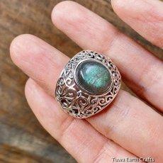 画像5: 1点物 ラブラドライト(カナダ産)シルバーリング 個性的デザイン 指輪 16号 天然石パワーストーンアクセサリー (5)