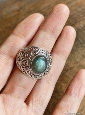 画像17: 1点物 ラブラドライト(カナダ産)シルバーリング 個性的デザイン 指輪 16号 天然石パワーストーンアクセサリー (17)