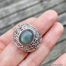画像8: 1点物 ラブラドライト(カナダ産)シルバーリング 個性的デザイン 指輪 16号 天然石パワーストーンアクセサリー (8)
