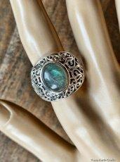 画像15: 1点物 ラブラドライト(カナダ産)シルバーリング 個性的デザイン 指輪 16号 天然石パワーストーンアクセサリー (15)