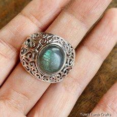 画像7: 1点物 ラブラドライト(カナダ産)シルバーリング 個性的デザイン 指輪 16号 天然石パワーストーンアクセサリー (7)