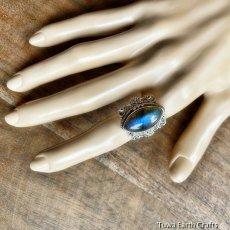 画像9: 1点物 高品質ラブラドライト(カナダ産)シルバーリング 神秘的ディープブルーシラー 指輪 14号 天然石パワーストーンアクセサリー (9)