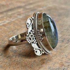 画像5: 1点物 高品質ラブラドライト(カナダ産)シルバーリング 神秘的ディープブルーシラー 指輪 14号 天然石パワーストーンアクセサリー (5)