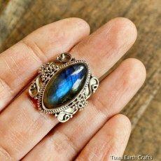 画像11: 1点物 高品質ラブラドライト(カナダ産)シルバーリング 神秘的ディープブルーシラー 指輪 14号 天然石パワーストーンアクセサリー (11)