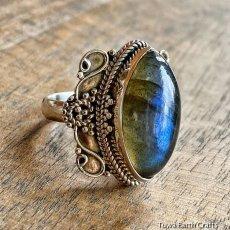 画像3: 1点物 高品質ラブラドライト(カナダ産)シルバーリング 神秘的ディープブルーシラー 指輪 14号 天然石パワーストーンアクセサリー (3)