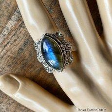 画像8: 1点物 高品質ラブラドライト(カナダ産)シルバーリング 神秘的ディープブルーシラー 指輪 14号 天然石パワーストーンアクセサリー (8)
