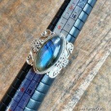 画像17: 1点物 高品質ラブラドライト(カナダ産)シルバーリング 神秘的ディープブルーシラー 指輪 14号 天然石パワーストーンアクセサリー (17)