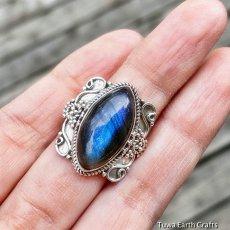 画像13: 1点物 高品質ラブラドライト(カナダ産)シルバーリング 神秘的ディープブルーシラー 指輪 14号 天然石パワーストーンアクセサリー (13)