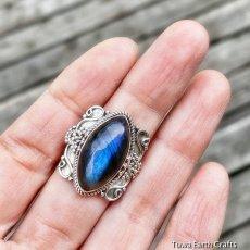 画像14: 1点物 高品質ラブラドライト(カナダ産)シルバーリング 神秘的ディープブルーシラー 指輪 14号 天然石パワーストーンアクセサリー (14)