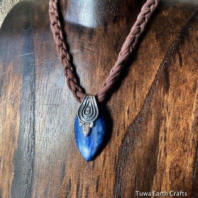 画像1: 1点物 キラキラ入り♪ 大ぶり高品質カイヤナイト デザインペンダントトップ★カイアナイト・カヤナイト・藍晶石 ヒーリングストーン天然石ジュエリー アクセサリー