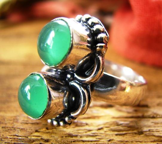 画像1: ログインで30%OFF♪ 1点もの グリーンオニキス指輪デザインリング16号*エスニック 天然石アクセサリー (1)