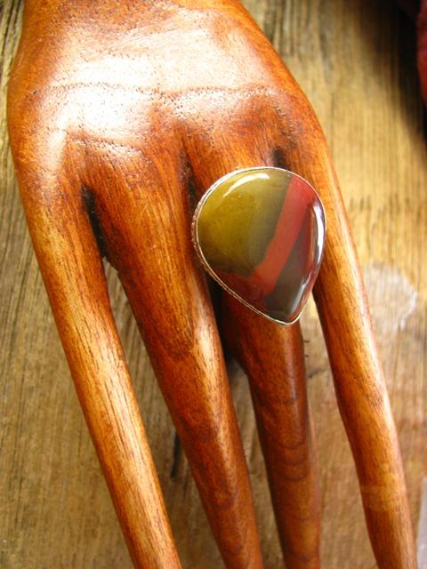 画像1: 石がBIG!!オーストラリア産ムーカイト指輪リング15号*エスニック*シルバー (1)