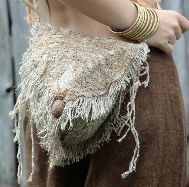 画像1: 残り1点☆ヒップバッグにもなる地球に優しい手紡ぎ・手織りヘンプ&ローシルクのhandmade妖精バッグ/ウエストバック/ピクシーバック (1)