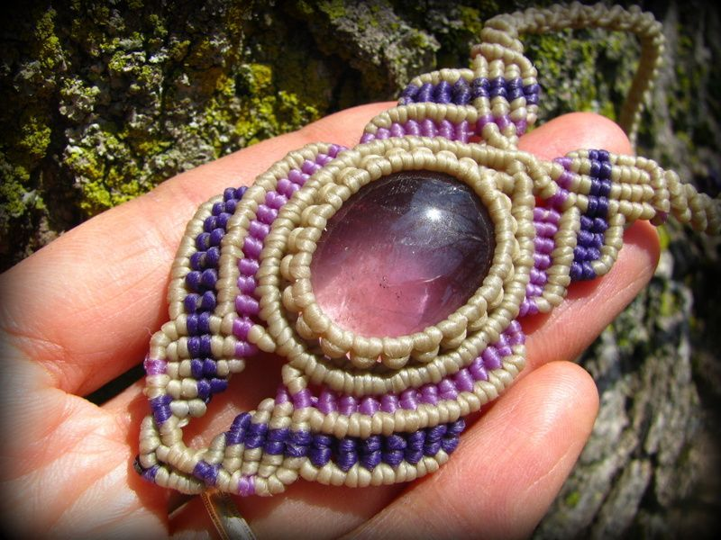 画像1: 1点もの アメジスト ネックレス*紫水晶 アメシスト*マクラメ ハンドメイド天然石アクセサリー (1)