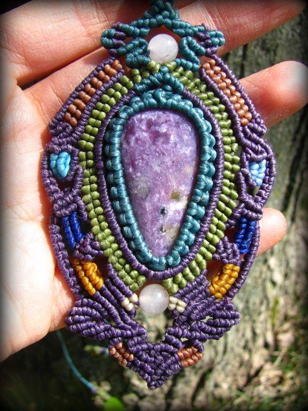 画像1: 1点物★癒しの石チャロアイトのマクラメ編みデザインネックレス*パワーストーン*天然石 (1)