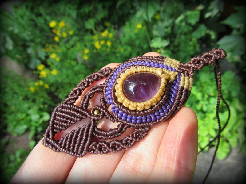 画像1: アメジストのデザインネックレス*紫水晶*マクラメ*ハンドメイド*アメシスト*天然石 (1)